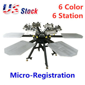 Usa 6 Color 6 Station Micro registration Screen Printing Machine T shirt Printer