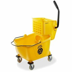 New Dryser Commercial Mop Bucket With Side Press Wringer 26 Quart Yellow