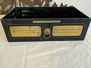 Antique Vtg 11 Metal Medical Cabinet Drawer J J Products Gold Gilt Detail No 2