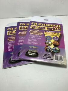 New Sealed 1997 Cd Stomper Pro 100 Die cut Cd Adhesive Labels Refill Pack X3 Pks