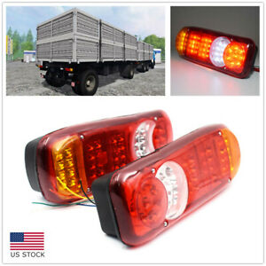 2pcs Rear Tail Light Trailer Truck Led Rear Tail Light Stop Brake Reverse Lamp