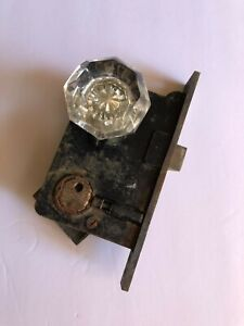 Vintage 8 Point Octagon Glass Door Knob With Door Lock Hardware Incomplete