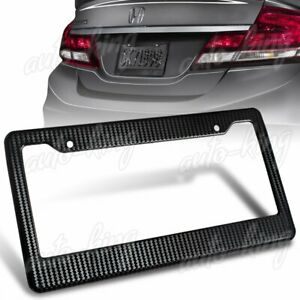 Jdm 1pc Black Carbon Look Style License Plate Holder Cover Frame Front Or Rear