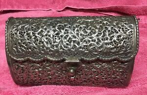 Antique Hand Made Sterling Silver 925 Purse 588 Grams Marked Silver Mk