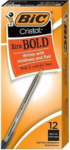 Bic Cristal Xtra Bold Ballpoint Pen Bold Point 1 6mm Black 12 count