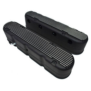 Gm Ls Chevy Sb Finned Cast Aluminum Valve Covers W Coil Mounts Cover Black