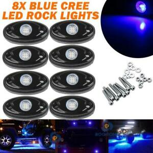8x Blue Neon Led Rock Light Kit Underglow Wheel Lamp For Offroad Car Atv