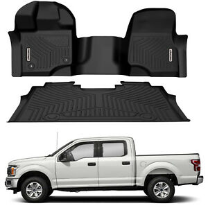 Oedro Floor Mats Liners Tpe For 2015 2020 Ford F150 F 150 Super Crew Cab F R