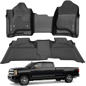 Oedro Floor Mats Liners Tpe For 2014 2018 Silverado sierra Crew Cab All weather