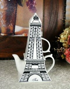 Unique Vintage Miniature Paris Eiffel Tower Ceramic 3d Coffee Tea Teapot Set