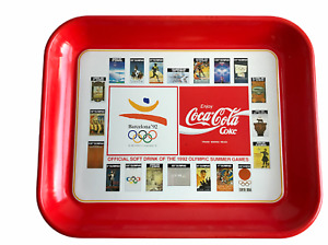Coca Cola Olympics Barcelona 1992 Metal Drink Platter Tray Rectangular