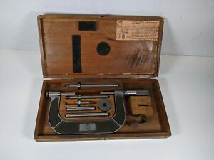 Vintage Lufkin 824a Micrometer 1 4 In Wood Box Machinist Tools Antique