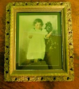 Antique Gesso Gold Gilt Picture Frame W Baby Toddler Child 1900 Photo Portrait