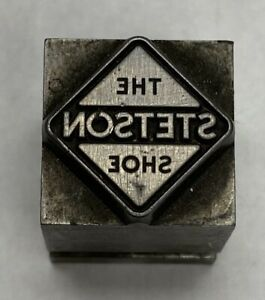 vintage Letterpress Printers Block The Stetson Shoe Zinc Plate Solid Metal