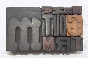 Letterpress Letter Wood Type Printers Block lots Of 12 Typography bc 1949