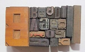 Letterpress Letter Wood Type Printers Block lot Of 18 Typography bc 1142