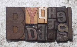 Letterpress Letter Wood Type Printers Block lots Of 12 Typography bc 2069