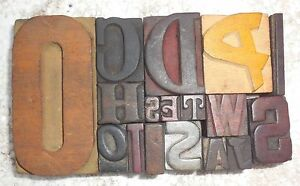 Letterpress Letter Wood Type Printers Block lots Of 17 Typography bc 1965