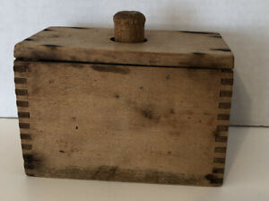 Vintage Antique Wooden Butter Mold Press 1 Pound Rectangular Dovetailed Box