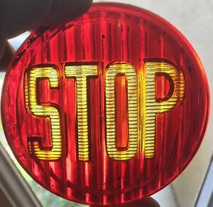 Antique 1916 Vintage Brilliant Stop Light Glass Old Truck Car Motorcycle