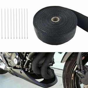 2 50ft Roll Fiberglass Exhaust Wrap Header Pipe Heat Tape Black 10 Ties