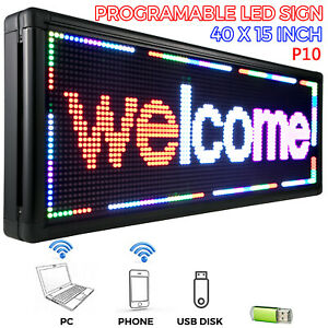 40 x15 Led Scrolling Sign 3 Color Red White Pink P10 Advertising Message Board