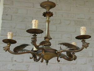 Antique French Neo Gothic Castle 5 Arms Dragon Chandelier Lamp Rare