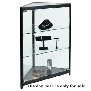 Fully Assembled Corner Display Case 27 W X 14 5 D X 38 H Inches With Led Light