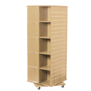 Revolving Cube Slatwall Display In Maple 23 5 W X 23 5 D X 63 H Inches