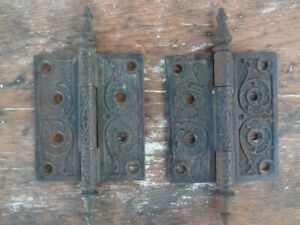 Antique Victorian Door Hinge Pair Cast Iron Ornate Steeple Tip 4 X 3 1 2