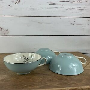 Franciscan China Silver Pine 3 Tea Coffee Cups Mcm Low Flat Style Aqua Ivory