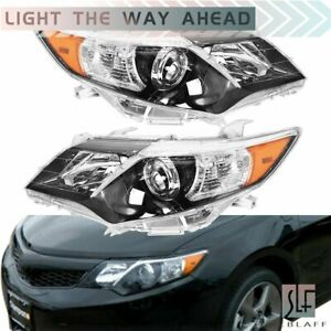 Pair L R Black Headlights Lamps For 2012 2014 Toyota Camry Se Style Projector