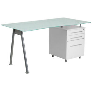 Contemporary White Computer Desk With Glass Top And Three Drawer Pedestal