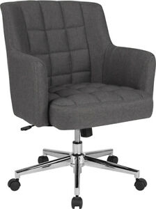 Laone Home And Office Upholstered Mid back Chair In Dark Gray Fabric