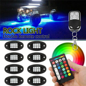 8pcs Neon Led Rock Light Kit Rgb Underglow Lamp Offroad Car Truck Remote
