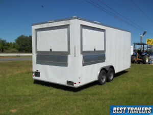 New 8 X 20 Enclosed Concession Trailer Vending Ready Red W Window Sinks Hood