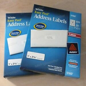 12000 Ct Avery 5160 White Address Labels Easy Peel 1 X 2 5 8 Laser 6000 pk