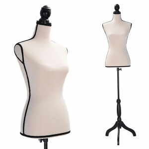 Beige Female Mannequin Torso Clothing Display W Black Tripod Stand New