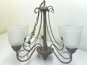Vintage Metal Hanging Ceiling Light Chandelier 5 Arms W Frosted Sconces