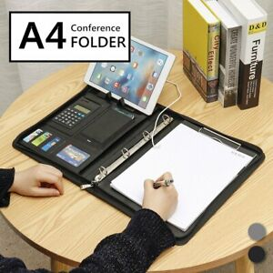 A4 Conference Folder Organiser Calculator Pu Business Document Office Note Pad