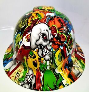 New Full Brim Hard Hat Custom Hydro Dipped Skull Sticker Bomb Fantastic Colors