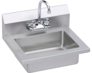 Elkay Stainless Steel Hand Sink With Faucet Ehs 18x 18 Guage 18 X 14 1 2 X 11