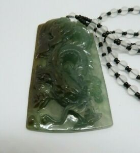 Certified Glossy Natural Grade A Jade Jadeite Carved Dragon Pendant Amulet