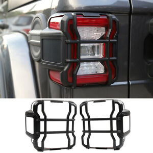 Black Rear Tail Light Lamp Guard Cover Trim Protect For Jeep Wrangler Jl 2018