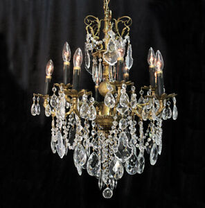 Exquisite 24 X 31 Vintage 10 Light Crystal Bead Brass Chandelier From Spain