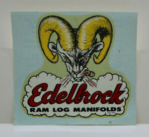 Original Vintage Edelbrock Decal Hot Rod Gasser Hemi V8 Intake Drag Racing Nhra