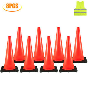 Traffic Safety Cones Parking Cones 8x28 warning Construction Sites Rubber Base