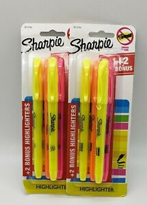 2x Sharpie Narrow Chisel Highlighters 4 Pack smear Guard