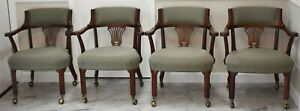 Set Of 4 Mahogany Chippendale Arm Chairs Club Chairs On Brass Casters Made Usa
