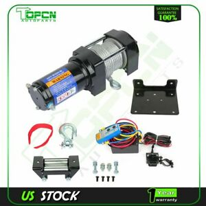 4000lbs Electric Winch 12v Steel Cable Truck Trailer Towing Off Road 4wd New